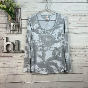 Lucy semi sheer gray and white floral print top M